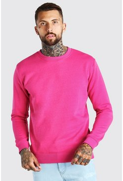 Pink Basic Crew Neck Fleece Sweatshirt
