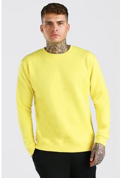 Yellow Basic Crew Neck Fleece Sweatshirt