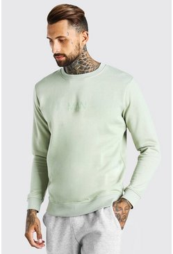 Sage green Original MAN Crew Neck Sweatshirt