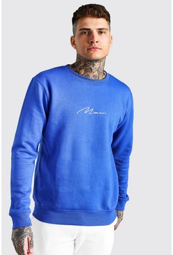 Cobalt blue Man Signature Embroidered Sweatshirt
