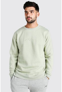 Sage green Man Signature Embroidered Sweatshirt
