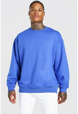 Cobalt blue Oversized Fleece Crew Neck Sweatshirt