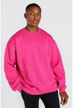 Pink Oversized Fleece Crew Neck Sweatshirt