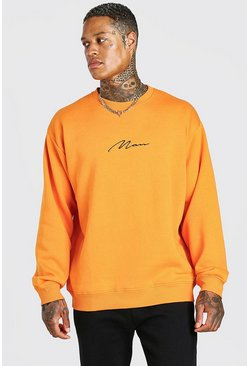 Sweat-shirt oversize HOMME Signature, Orange