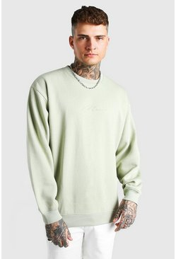 Sage green Oversized Man Signature Sweatshirt