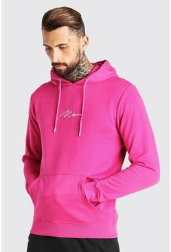 Pink MAN Signature Embroidered Hoodie
