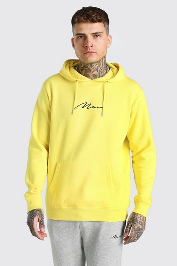 Yellow MAN Signature Embroidered Hoodie