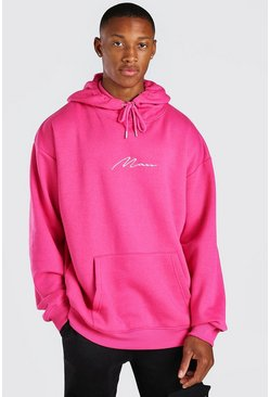 Pink Oversized MAN Signature Over The Head Hoodie