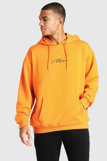 Orange Oversized MAN Signature Over The Head Hoodie