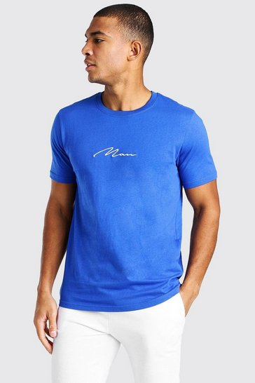 Cobalt blue MAN Signature Embroidered T-Shirt