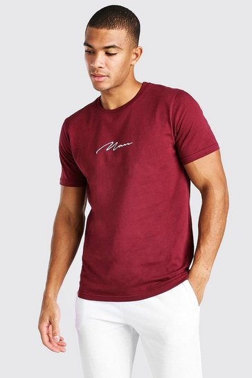 Burgundy red MAN Signature Embroidered T-Shirt