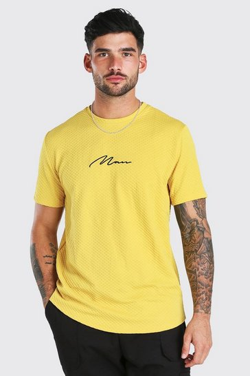 Yellow MAN Signature Embroidered T-Shirt