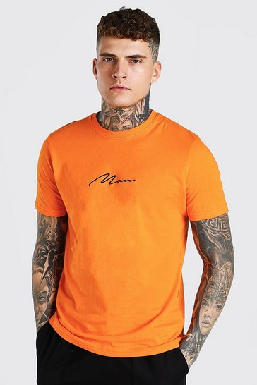Orange MAN Signature Embroidered T-Shirt