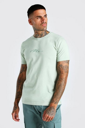 Sage green MAN Signature Embroidered T-Shirt