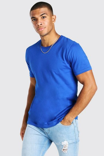 Cobalt blue Crew Neck T-Shirt With Rolled Sleeves