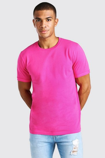 Pink Crew Neck T-Shirt With Rolled Sleeves