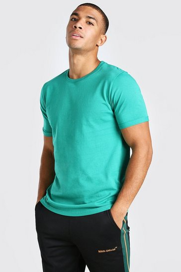 Green Crew Neck T-Shirt With Rolled Sleeves
