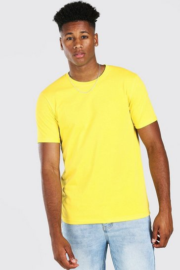 Yellow Crew Neck T-Shirt With Rolled Sleeves