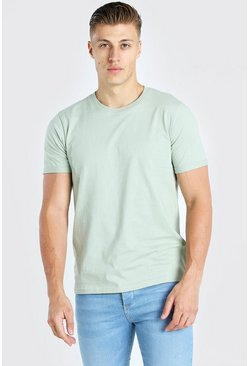 Sage green Crew Neck T-Shirt With Rolled Sleeves