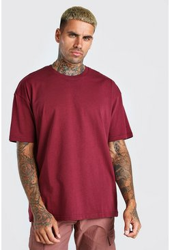 Burgundy red Oversized Basic Crew Neck T-Shirt