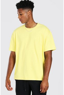 Yellow Oversized Basic Crew Neck T-Shirt