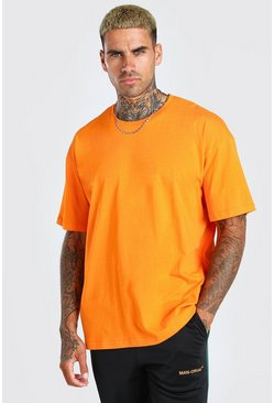 Orange Oversized Basic Crew Neck T-Shirt