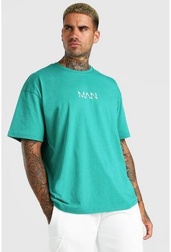 Green Oversized Original MAN Crew Neck T-Shirt