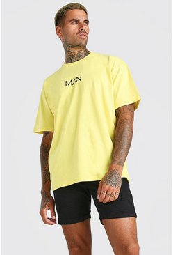 Yellow Oversized Original MAN Crew Neck T-Shirt