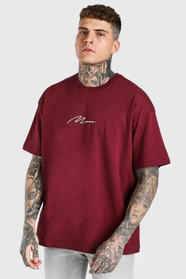 Burgundy red Oversized MAN Signature Embroidered T-Shirt