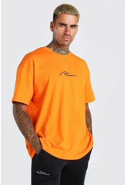 Orange Oversized MAN Signature Embroidered T-Shirt