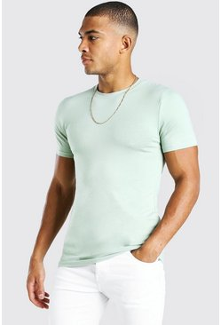 Sage green Muscle Fit Crew Neck T-Shirt