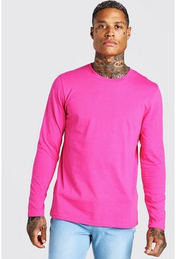 Pink Basic Long Sleeve Crew Neck T-Shirt
