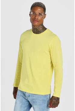 Yellow Basic Long Sleeve Crew Neck T-Shirt