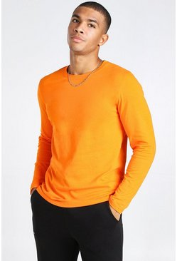 Orange Basic Long Sleeve Crew Neck T-Shirt