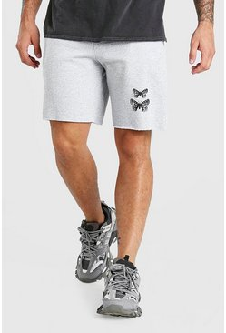 Grey marl grey Mid Length Jersey Short With Butterfly Print