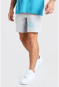 Grey marl grå Mid Length Jersey Short With Butterfly Print