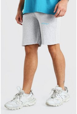 Grey marl grey MAN Official Mid Length Jersey Short