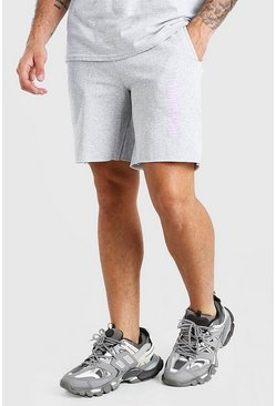 Grey marl grey Jersey Short With MAN Official Graffiti Print