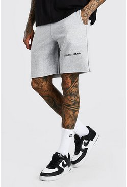 Grey marl grey Jersey Short With Front Official MAN Print