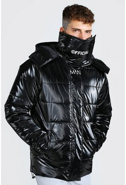 Black MAN Official High Shine Snood Puffer