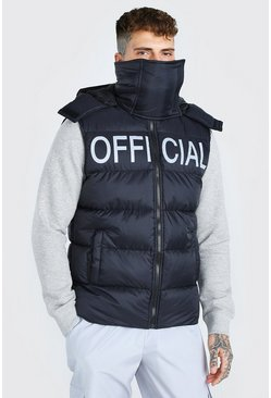 Black svart MAN Official Chest Print Snood Gilet