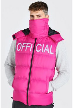 Pink rosa MAN Official Chest Print Snood Gilet