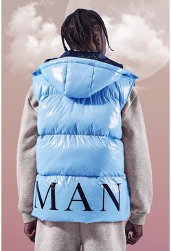 Pastel blue MAN Back Print Gilet