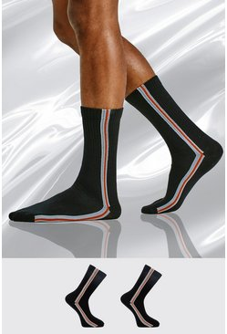 Black 2 Pack Side Stripe Sock