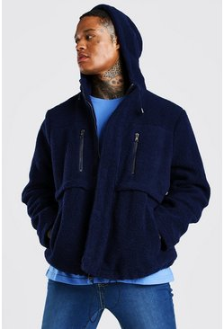 Navy Oversized Sherpa Jacket