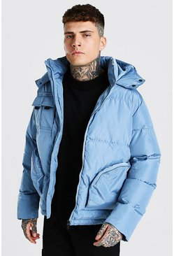 Blue Patch Pocket Hooded Puffer