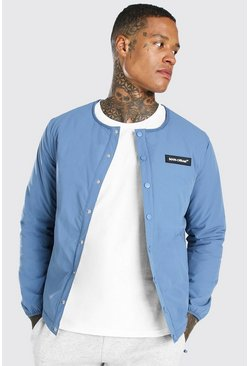Denim-blue blue MAN Official Collarless Coach Jacket