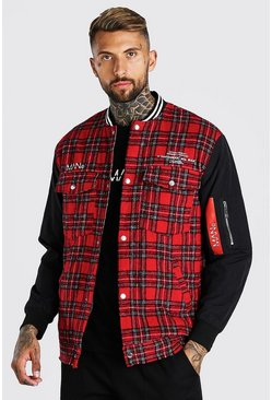 Red Check Fabric Mix Bomber Hybrid With Back Print