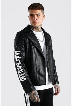 Black Official MAN Face Graffiti Leather Look Biker