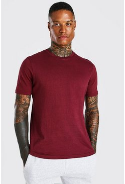 Burgundy red Basic Crew Neck T-Shirt